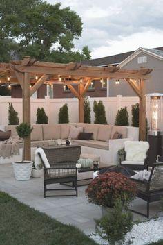 Übergang hinterhof für den herbst ein zimmer für dienstag-blog Small Backyard Patio, Backyard Patio Designs, Pergola Designs, Diy Patio, Patio Ideas, Backyard Ideas, Patio Table, Landscaping Ideas, Garden Ideas