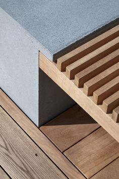 Bench detail, concrete and timber