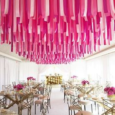 I love this inspired ceiling design! Ribbons in shades of #pink add a pop of colour, not to mention a playful and unexpected element to the room #WedLuxe