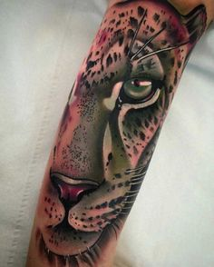 animalistic sleeve tattoo puma face