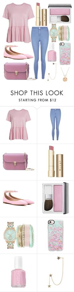 """BABY PINK"" by haleemaiftkhar ❤ liked on Polyvore featuring New Look, Valentino, Stila, Gianvito Rossi, Clinique, Jessica Carlyle, Casetify, Essie, Zimmermann and Gucci"