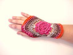 Lace Crochet Fingerless Gloves - Crochet mittens - Wrist warmer - Winter gloves