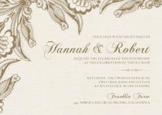 An ecru, linen-like background is painted with the edges of flowering vines that resemble romantic, Gold Lace in this delicate and elegant wedding invitation.