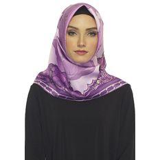 Hijabstore - Jilbab Angel Lelga Original Scarf 077 - Ungu Motif Bunga