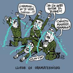 'Llorar en Obamaternidad', viñeta de #AlenLauzán en DIARIO DE #CUBA #HUMOR