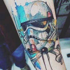 """A watercolour stormtrooper.   28 """"Star Wars"""" Tattoos That Will Awaken The Force In You"""