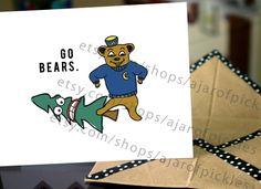 Go Bears Berkeley Cal Oski Card beating Furd. $3.49, via Etsy.