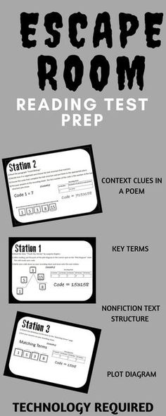 Includes context clues station, non-fiction text structure, plot diagram practice, and practice with common reading vocabulary terms. This interactive escape room requires technology. This is a great form of test prep 8th Grade Ela, 6th Grade Reading, Reading Test, Teaching Reading, Reading School, Sixth Grade, Reading Room, Seventh Grade, Middle School Ela