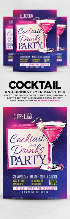 Cocktail And Drinks Party Flyer Template PSD