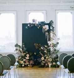 Feminine Meets Modern for a Moody Wedding in an NYC Loft ⋆ Ruffled Feminine meets modern with a mood Wedding Backdrop Design, Floral Backdrop, Ceremony Backdrop, Backdrop Decorations, Backdrops, Wedding Decorations, Wedding Shoot, Wedding Ceremony, Loft Wedding