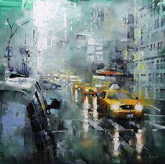 New York Rain by Mark Lague Oil ~ 24 x 24