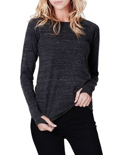 7528ff54819bd Keep it comfortable in this long sleeve round neck t shirt with thumb hole.  It