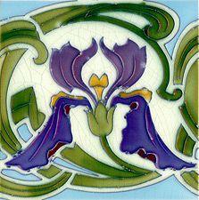 Antique Belgium Art Nouveau Tile c 1905 Art Deco Design, Retro Design, Azulejos Art Nouveau, Art Nouveau Flowers, Art Nouveau Furniture, Art Nouveau Tiles, Arts And Crafts House, Vintage Tile, Arts And Crafts Movement