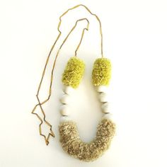 Long Feline Necklace, hand-crafted - Charteuse Yellow