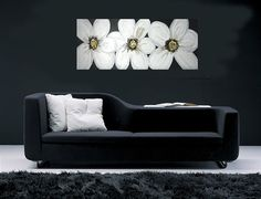 Original White Flower painting, TEXTURED flower Modern Canvas , Black and white artwork