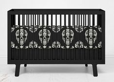 Sugar Skulls Baby Crib Bedding from Skull Bedding Designs - Modern Camo Crib Bedding, Round Crib Bedding, Girl Crib Bedding Sets, Baby Crib Sets, Baby Crib Mattress, Star Bedding, Baby Comforter, Black Baby Cribs, Black Crib