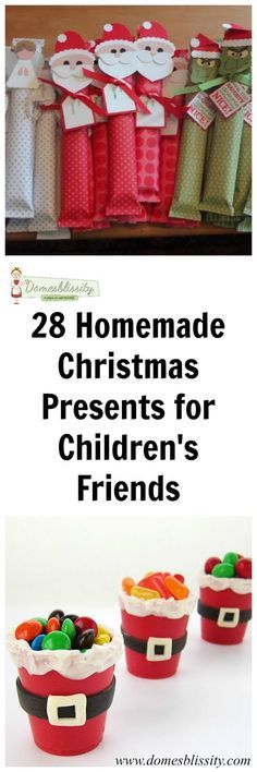 28 homemade Christmas presents for children's friends - - Last week I shared with you 21 homemade Christmas presents to make for teachers and I gather you've already made them, like me (*cough, cough*). Here are 28 homemade Christmas presents for ch…. Christmas Presents To Make, Holiday Gifts, Holiday Fun, Kids Presents, Christmas Gifts For Children To Make, Make Christmas Decorations, Kid Made Christmas Gifts, Childrens Christmas Crafts, Easy Homemade Christmas Gifts
