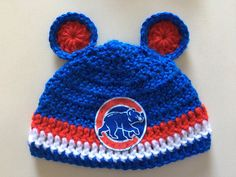 52dd9b63bf2 Crocheted Chicago Cubs Cubby Bear Baby Hat and Diaper Cover Set