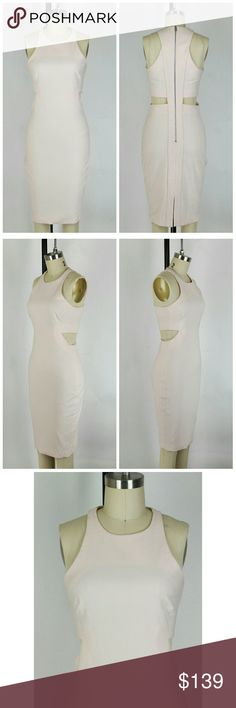 "Elizabeth and James Lela Cutout Dress Size 2. Elizabeth and James Lela Cutout Dress in pale pink. MSRP  $365. New without tags. Never worn.   Sleeveless. Racerback. Cutout sides.  Darted bust. Exposed back zipper. 54% polyester 38% viscose 8% elastane. Lining 97% polyester 3% spandex. Approximate measurements Bust 29"" Length 38"" Waist unstretched 26"" Hips 32"". Elizabeth and James Dresses"