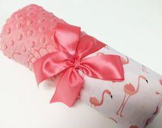 Flamingo deken, Coral Flamingo katoen Baby deken, gepersonaliseerde Baby deken, monogram deken, Flamingo Baby…