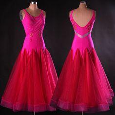 Ballroom Dance Dress Modern Standard Waltz Competition Pink Rhinestone Dress