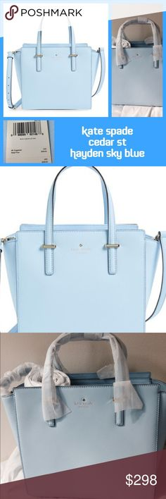 """Just in! NWT KS Cedar St Hayden in Sky Blue  PLEASE NOTE: First picture is actual color  Zip top closure, interior zip and double side pockets. Crosshatched leather with matching trim, 14kt gold plated hardware. Measures 10"""" L x 11"""" W x 5"""" D. Handles have 5"""" drop and adjustable shoulder strap has 18.5-20.5"""" drop. Dust bag included. Trades  ✅REASONABLE OFFERS WELCOME ✅ MSRP $358 plus tax kate spade Bags"""