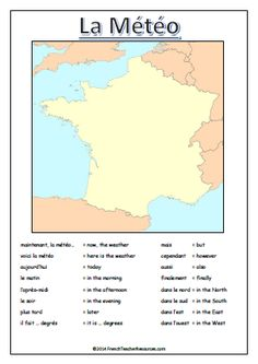 A worksheet to help students to plan a French weather forecast, including a blank map and a selection of useful vocabulary. French Worksheets, French Teacher, Weather Forecast, Teacher Resources, Vocabulary, How To Plan, Education, French Tips, Words