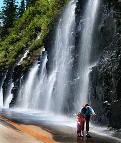 The Weeping Wall on the 'Going to the Sun' Road in Glacier National Park, Montana;  the water temperature is just above freezing;  photo by elliot23, via Flickr