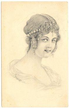 A s Schweiber 1902 Postcard Art Nouveau Woman | eBay