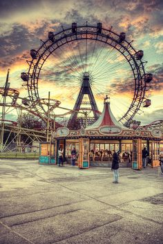 Prater Amusement Park and Riesenrad Ferris Wheel in Vienna by Julian Russi Beautiful World, Beautiful Places, Carnival Rides, Abandoned Places, Monuments, Scenery, Places To Visit, Around The Worlds, Nature