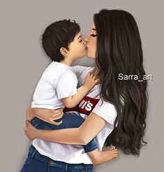 A mother and son- A bond like no other Mother Daughter Art, Mother Art, Mother And Child, Mommy And Son, Mom Son, Mom And Baby, Sarra Art, Girly M, Couple Art
