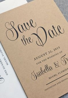 sweet save the date - such a pretty font! then in the envelope add a cute pic of soon to be bride and groom