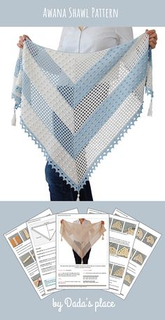 , The Awana shawl is light and airy, a perfect accessory for a summer night out. , The Awana shawl is light and airy, a perfect accessory for a summer night out. It can also be a wedding accessory. The crochet pattern is very detaile. Thread Crochet, Crochet Scarves, Diy Crochet, Crochet Clothes, Crochet Stitches, Crochet Patterns, Crochet Summer, Tricot Simple, Crochet Shawl Diagram