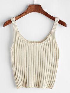 Negozio A coste lavorato a maglia Cami Top on-line. SheIn offre A coste lavorato a maglia Cami Top & di più per soddisfare le vostre esigenze di moda.