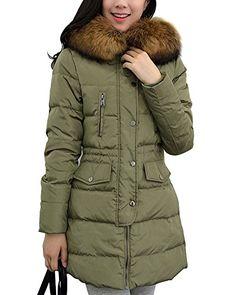 Tidecloth Women's Winter Fashion Faux Fur Hooded Outwear Down Coat
