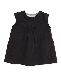 Z1A71 Burberry Newborn Corduroy Dress with Bloomers, Black, 3-24 Months
