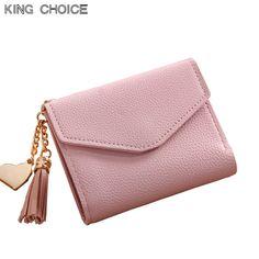 bb769960c2581 2018 moda katı püskül kadın cüzdan kredi kartları için küçük lüks marka deri  kısa bayan cüzdan ve çantalar fermuar & hasp