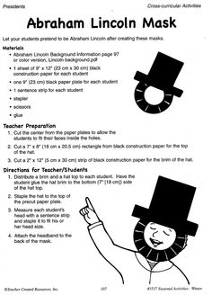 """Your students will love pretending to be Abraham Lincoln just in time for his birthday on February 12th with these student-created masks from """"Seasonal Activities: Winter"""""""