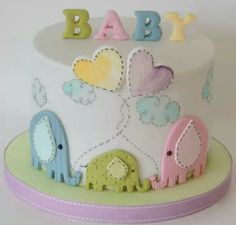 Baby Shower Cake - I like the way the decorations are done to look like they are sewn into the cake
