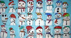 Kids Artists: Come on, let's make a snowman! They used tempera paint on blue construction paper. We will be choosing construction paper crayons or oil pastels.