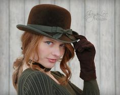 Bowler Hat in Earthy Brown and Green by GreenTrunkDesigns on Etsy