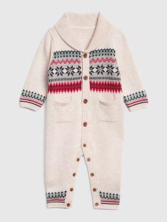 Gap Baby Fair Isle Shawl-Collar One-Piece Oatmeal Baby   Toddler Clothing c6d0c5864