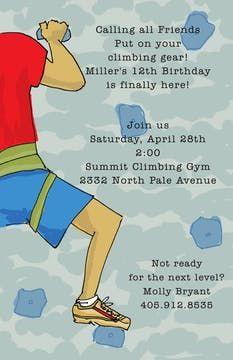 Kids Birthday Invitations - partyinvitations.com Climbing Wall, Birthday Invitations Kids, All Friends, 12th Birthday, Free Paper, Invitation Design, Party Ideas, Elegant, Classy