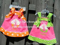 Hot Pink and Lime Green Polka Dot Knot Birthday Dress Girls 1st, 2nd, 3rd, 4th, Birthdays Mongram Matching Bow Ruffle Socks. $48.00, via Etsy.