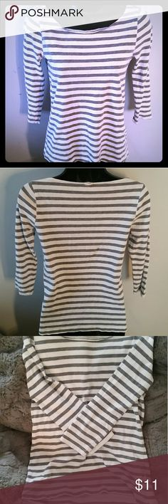 J. Crew 3/4 Length Shirt Gray and white striped J. Crew 3/4 Length Shirt, good condition. J. Crew Tops Tees - Long Sleeve