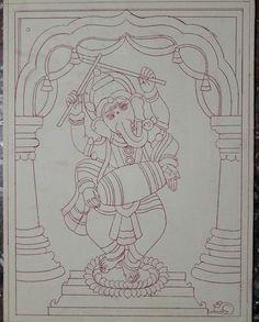 Kerala Mural Painting, Indian Art Paintings, Madhubani Painting, Glass Painting Designs, Fabric Paint Designs, Ganesha Painting, Madhubani Art, Indian Folk Art, Outline Drawings