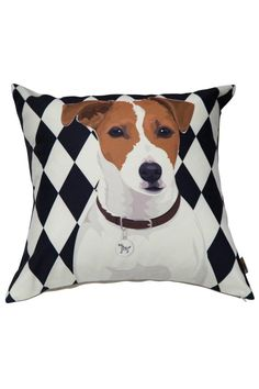 """Water repellent, durable pillow that is resistant to humidity and mold. Natural linen on the backs of the pillows. Pillow inserts are made with polyester filling and can be unzipped to be washed.    Measures: 13"""" x 13""""   Jack Russell Pillow by Dogolove. Home & Gifts - Home Decor - Pillows & Throws California"""