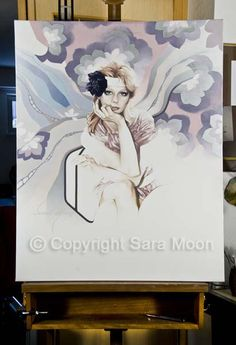 Original Sara Moon Artwork For Sale Moon Painting, Painting & Drawing, Sketch 2, Paper Size, Colored Pencils, Oil On Canvas, Original Artwork, Congratulations, Angel