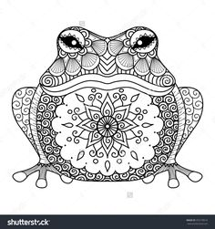 Hand drawn zentangle frog for coloring book for adult, shirt design - Jolene's Crafting