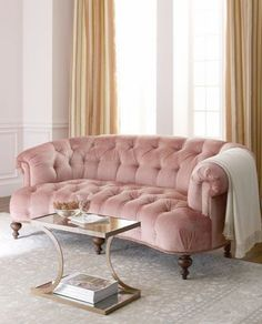 Old Hickory Tannery Brussel Blush Tufted Sofa, Such a gorgeous blush rose colored hue with dark wooden feet and an elegant crescent shape. the perfect boudoir or ladylike sofa for an elegant luxurious home Shabby Chic Furniture, Home Furniture, Furniture Design, Furniture Ideas, Vintage Furniture, Vintage Sofa, Sofa Design, Modern Furniture, Rustic Furniture